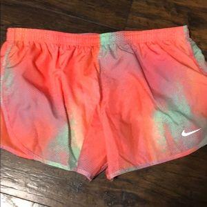Nike neon orange/pink Dri-Fit shorts